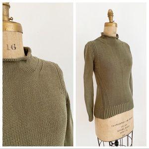 J CREW ALWAYS 1988 rollneck olive knit sweater.